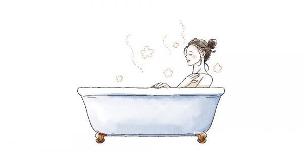 お風呂で保湿ケアをする女性のイラスト
