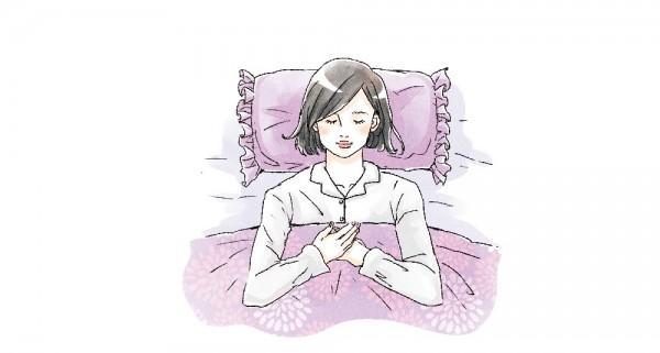 しっかりと睡眠をとる女性のイラスト